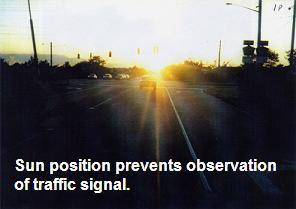 Setting sun aligned with roadway prevents seeing colors of overhead traffic signals